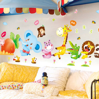 Cartoon Animal Radish PVC Wall Sticker Decals for Kids Baby Bedroom House Dec Oration colorful