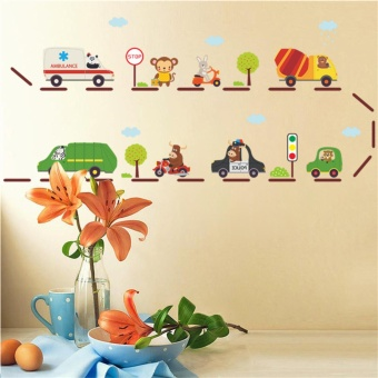 Cartoon Car highway wall stickers for kids rooms kindergarten children nursery room decoration on the wall car decals boy's gift - intl