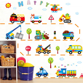 Cartoon Car Train Engineering Vehicle children's room sticker wall stickers