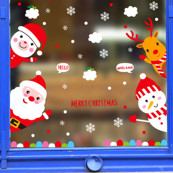 Cartoon Christmas glass window grilles wall sticker Decoration Adhesive paper