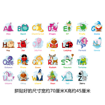 Cartoon doll English Lettered stickers wall adhesive paper