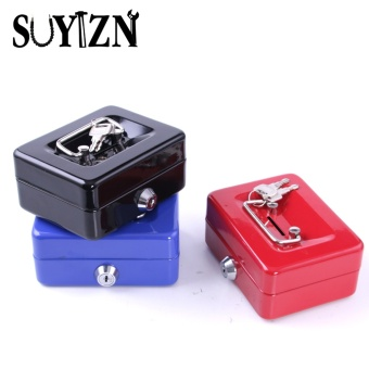 Cash Box Safe Small Coin Piggy Bank Metal Saving Money Box BlackWith Locks Tirelire Banco Monedas HW109 - intl