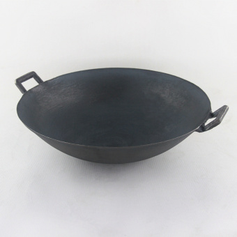 cast iron pot The old traditional 2 ears non- coating pointed pan wok picnic 27CM - Intl