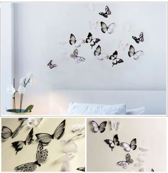 CatWalk 18pcs 3D Butterfly Sticker Art Design Decal Wall StickersHome Room Decorations (Multicolor)