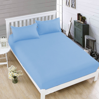 Celebrity Light Blue Plain Bedsheet Single Queen King Size Fitted Sheet Cover Linen Collection Bedding Set with Pillowcase
