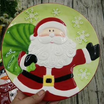 Ceramic hand-painted Christmas Round Plates