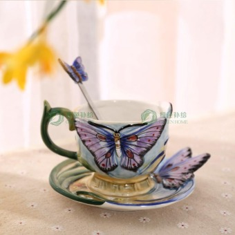 Ceramic hand-painted European Butterfly coffee cup