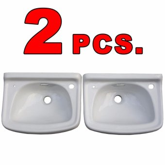 Ceramic Lavatory Wash Basin White Set of 2