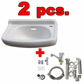 Ceramic Lavatory Wash Basin White with Plumbing Accessories Set of2