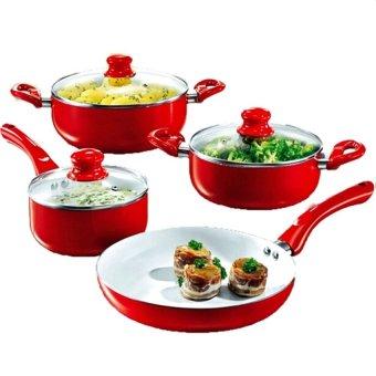 Ceramic Pan Set of 7 (Red)