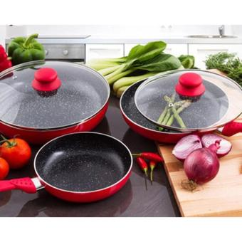 Ceramic Stone Frying Pan (Red) Set of 5