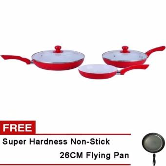 Ceramic Stone Frying Pan (Red) Set of 5 With Free Frying Pan 26cm
