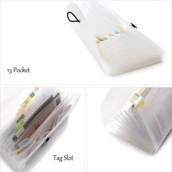 Check Ticket Size Elastic Strap Expandable Bills Card Holder FileStorage Folder Plastic Business Document Organizer Wallet Case 13Pockets - intl - 3