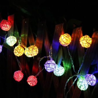 CHINCOLOR RGB Warm White Led string light 2M 20LEDs powered by AAbattery Rattan Ball Holiday for Christmas Wedding Party Curtain XR- intl - 2