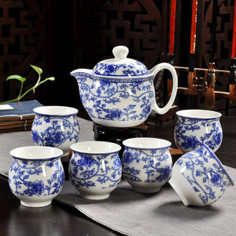 Chinese ceramic heat resistant double layer cup teapot cup