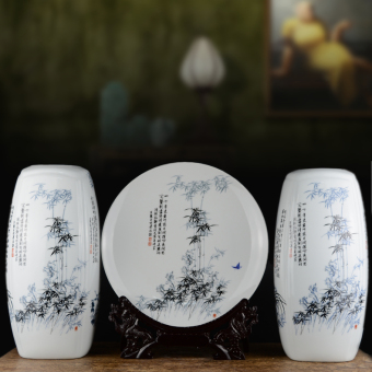 Chinese living room Merlin, bamboo and Chrysanthemum porcelain vase