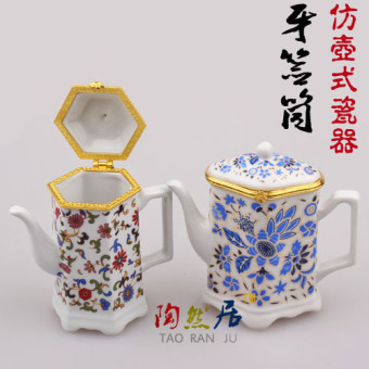 Chinese-style classical teapot-shaped porcelain pot porcelain jewelry box