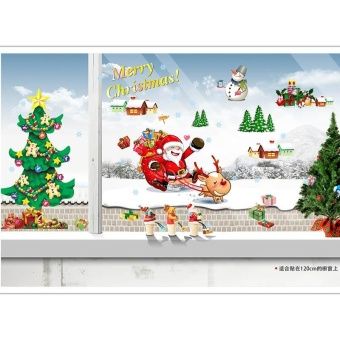 Chrismas Santa Claus Tree Wall Stickers Room Art Removable Paper Decoration - intl