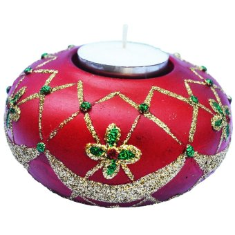 Christmas Classic Table Top Red Candle Holder with glitters Figurine for the Holiday (Made of Fiberglass Resin) by Everything About Santa (Christmas decoration and gift suggestion)