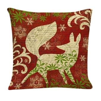 Christmas Cotton Linen Cushion Cover Throw Waist Pillow Case Sofa Home Decor A - intl