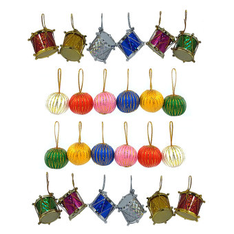 Christmas Decor Drums and Balls Christmas Tree Hang 2 SETS EACH(Multicolor)