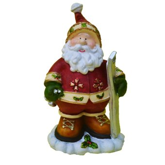 Christmas decor Santa Claus Ski in snow Christmas figurine (Made ofFiberglass Resin) by Everything About Santa (Christmas decorationand gift suggestion)
