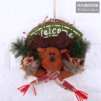 Christmas decoration Christmas snowman old wreath rattan