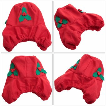 Christmas Decorations Happy Santa Toilet Seat Cover and Rug Set and Tissue Box Cover - intl - 4