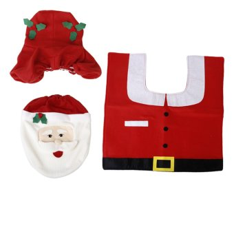 Christmas Decorations Happy Santa Toilet Seat Cover and Rug Bathroom 3-piece Set