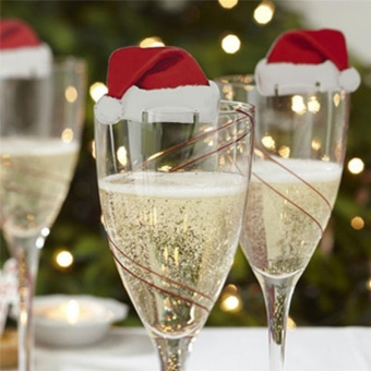 Christmas Decorations Hats 10pcs Champagne Glass Decor Paperboard Party 6*3.5cm - intl - picture 2