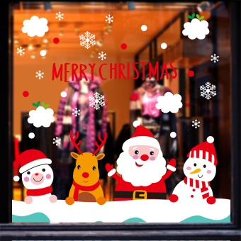 Christmas decorative glass door stickers wall adhesive paper