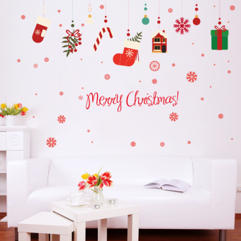 Christmas decorative mall shop window glass adhesive paper