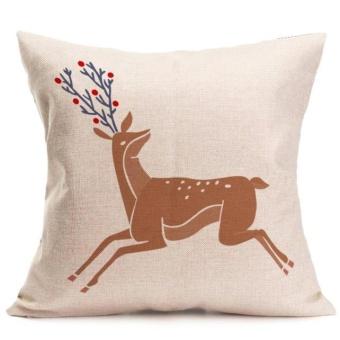 Christmas Deer Pillow Case Sofa Waist Throw Cushion Cover Home Decor - intl