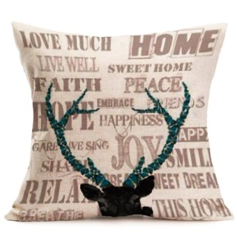 Christmas Deer Pillow Case Sofa Waist Throw Cushion Cover HomeDecor - intl