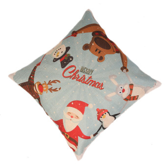 Christmas figures linen pillow cover material for home, pillow to protect the car (Intl) - picture 2