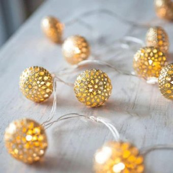 Christmas Lmitation Metal Ball Lights LED String Light 5M 40 LEDbattery models Christmas Light for Outdoor Patio Lawn LandscapeGarden Home Wedding Holiday - intl