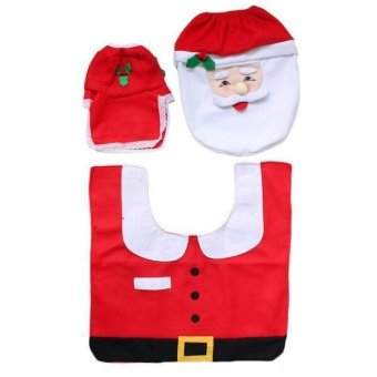 Christmas Santa Claus Bathroom toilet seats cover mat -Toilet cover+contour rug + tank cover, thermal potty 3 piece set - 3