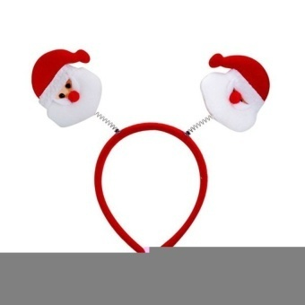 Christmas Santa Claus Head Band with Spring (Red/White) - intl