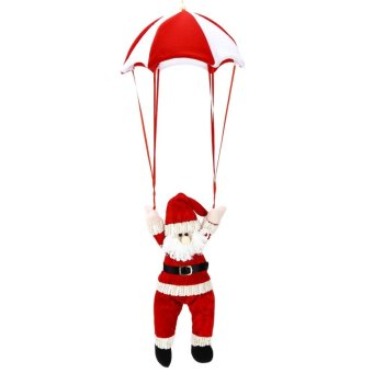 Christmas Santa Claus Snowman Parachute Toy Hanging Decoration (Red) - intl