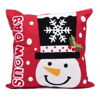 Christmas Snowflake Snowman Snow Pillow Cover (Red) (Intl)