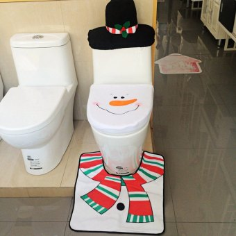 Christmas Snowman Toilet Set of 3 Santa Toilet Seat Cover Rug Tank Cover Tissue Box Cover