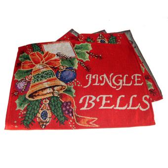 Christmas Tapestry Table Cloth Runner Jingle Bells w/ Tassel Multicolor - intl - 3