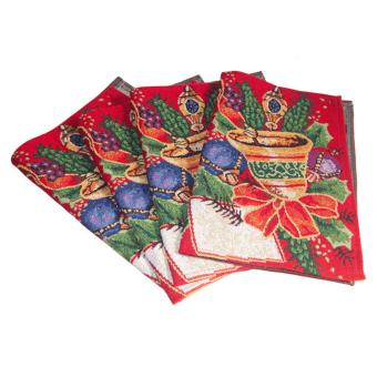 Christmas Tapestry Table Cloth Runner Jingle Bells w/ Tassel Multicolor - intl - 2
