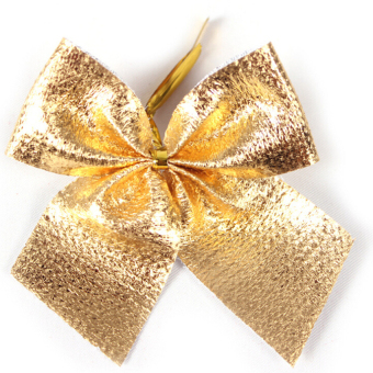 Christmas Tree Decoration Bowknot 12 Pcs Gold (Intl) - picture 2