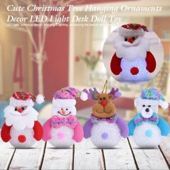 Christmas Tree Hanging Ornaments Decor LED Light Doll Toy #Santa Claus - intl