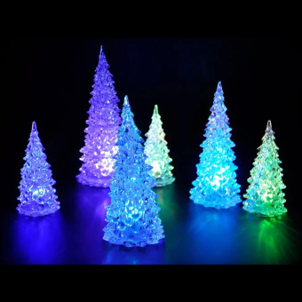 Christmas Tree Ice Crystal Colorful Changing LED Desk Decor (Intl)