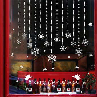Christmas Tree Snowflake Glass Shop Window Decorative Sticker