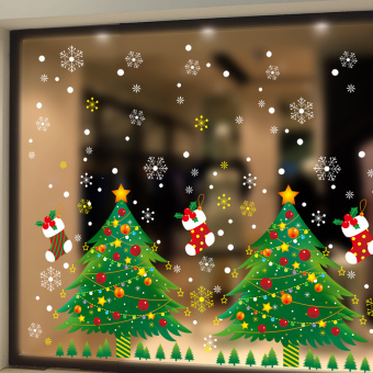 Christmas window glass window holiday sticker wall adhesive paper