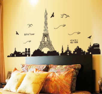 City Building Paris tower baseboard wall adhesive paper