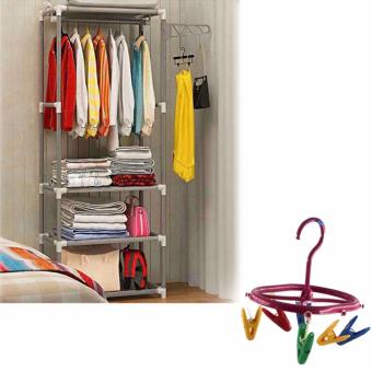 CJY-001 Creative Simple Coat Rack Wardrobe (Gray) with Hook RoundHanger (Color May Vary)
